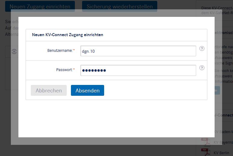 Neuen KV-Connect-Zugang einrichten