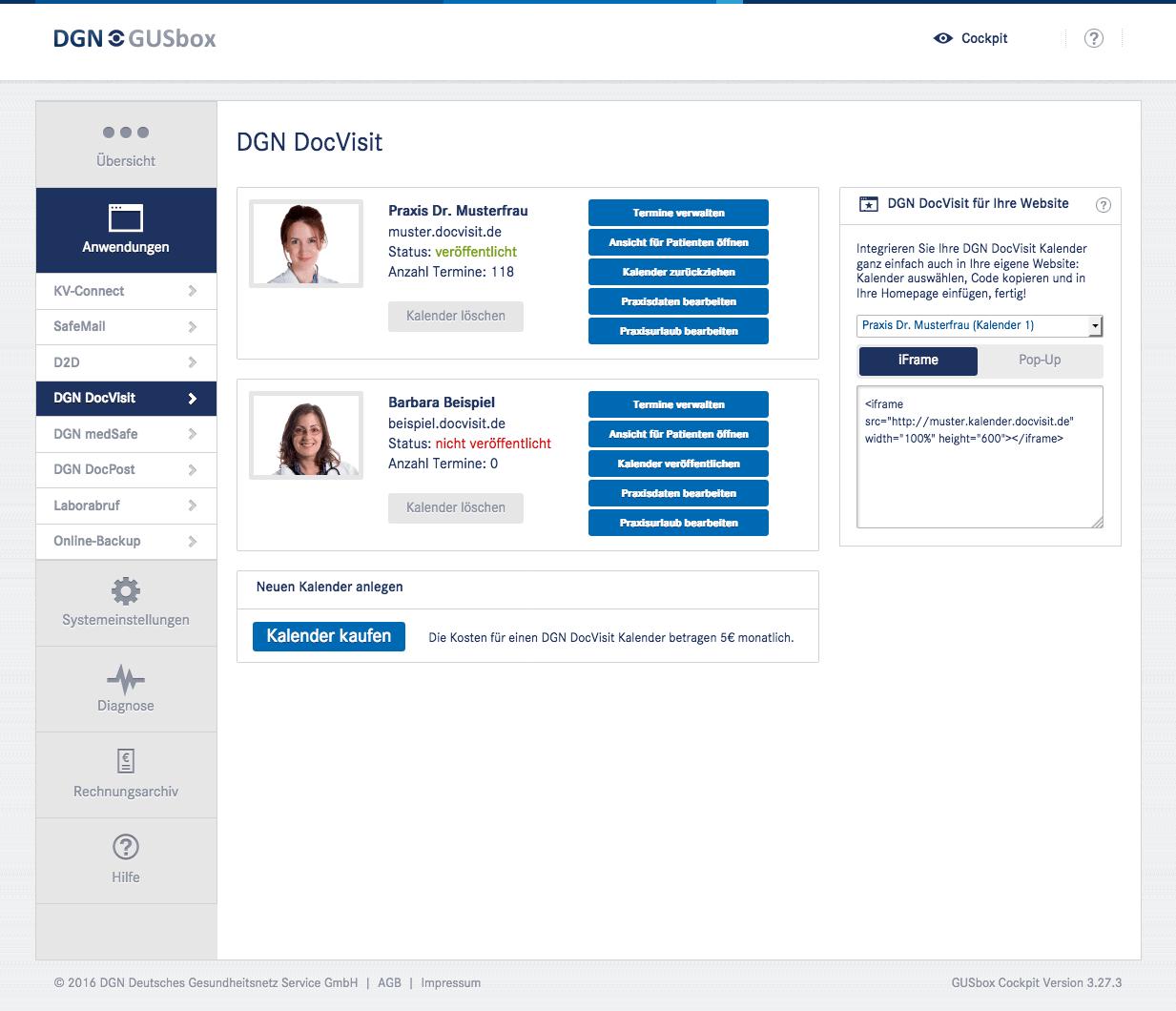 Online-Terminkalender DGN DocVisit: Mehrere Kalender buchen und verwalten
