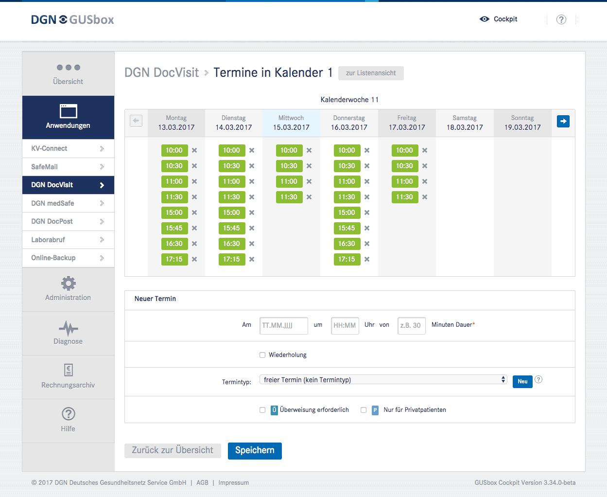 Online-Terminkalender DGN DocVisit: Terminverwaltung